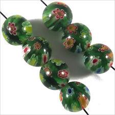 Lot de 10 Perles Millefiori en Verre 8mm Vert fleuri