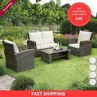 Rattan Garden Furniture 4 Piece Patio Set Table Chairs, Weawe Sofa,grey, Brown