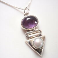 Cultured Pearl and Amethyst 925 Sterling Silver Pendant Corona Sun Jewelry