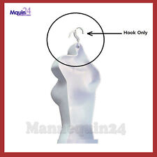 5 White Hooks for Plastic Hanging Mannequins -Bent to Hang Mannequins Straight