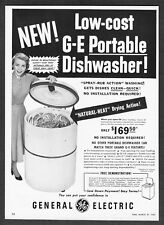 "1950 GE General Electric Portable Dishwasher photo ""Spray-Rub Action"" print ad"
