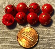 "6 Red Buttons Czech Glass Opaque Round Gold Plain 7//16"" or 11 mm bfere0102"