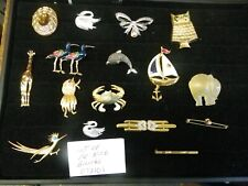 Lot Of 16 Vintage Costume Jewelry Rhinestone Brooches Pins J.Ritter, LC, Gerry,+