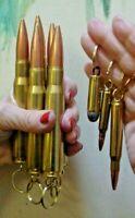 Five 50 CALIBER BMG Keyrings + 3 FREE Bullet Keyrings Empty Bullets