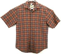 The Territory Ahead Men's Shirt L Short Sleeve Button Up Orange/Blue/Green Plaid