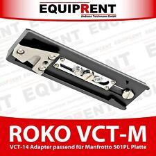 """ROKO VCT-M Stativplatte für Manfrotto 501PL mit VCT-14 und 1/4"""" Gewinde (EQ254)"""