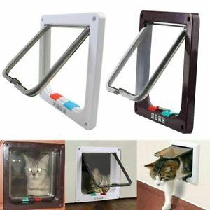 4 Way Pet Cat Puppy Dog Magnetic Lock Lockable Safe Flap Door Gate Frame S M L