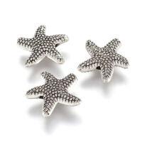 100 Bumpy Tibetan Alloy Starfish Metal Beads Antiqued Silver Loose Spacer 13.5mm