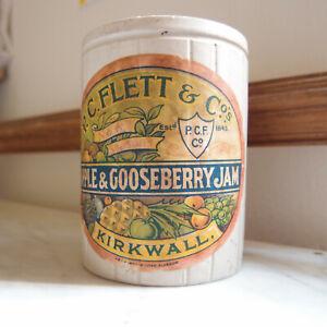Pot confiture ancien avec étiquette anglais Kirkwall Flett, en grès