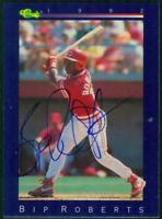 Original Autograph of Bip Roberts of the Cincinnati Reds on a 1992 Classic Blue