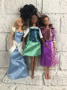 Disney Barbie Dolls lot play toy collectible princess Lot Of 3