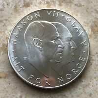 Norway, 25 Kroner, 1970, Brilliant Uncirculated, Liberation, .8158 Ounce Silver