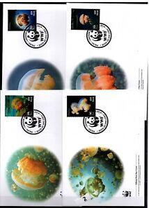 / PALAU - 4 FDC - WWF - NATURE - MARINE LIFE - JELLY FISH - 2014