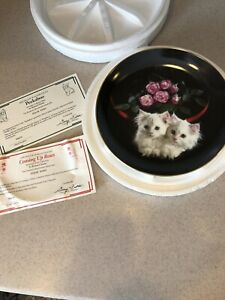 Cat Plate Peekaboo Coming Up Roses