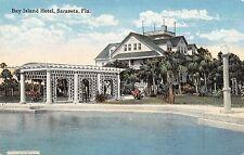 Sarasota Florida Bay Island Hotel Swimming Pool Antique Postcard (J34340)