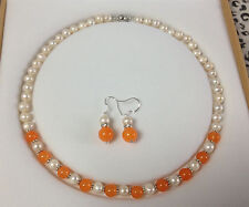 Charming!Real White Akoya Cultured Pearl/Orange Jade necklace earrings set
