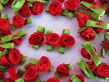 100 Red Satin Ribbon Rose Flower Leaf 15mm Applique/Craft/Holiday Carnation F64