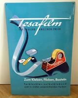 """Geprägtes Blechschild TESA FILM """"Werbeplakat von 1954"""" Retro-Repro 39,5 x 59 cm"""