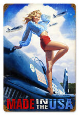 MADE IN THE USA GREG HILDEBRANDT GIANT VINTAGE METAL SIGN PINUP SEXY FREE PRINT