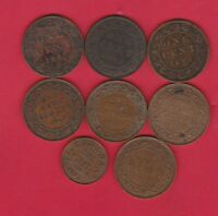 EIGHT CANADA ONE CENT COINS 1894 TO 1929 IN GOOD FINE TO NEAR MINT CONDITION.