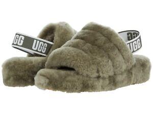 Women's Shoes UGG FLUFF YEAH SLIDE Sheepskin Slipper Sandals 1095119 BURNT OLIVE