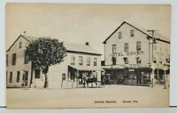 PA Dover, Centre Square, Hotel, Stores, Horse Buggy Postcard M9