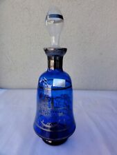 "MURANO  "" ARGENTO ""  Decanter With Stopper  -  Blue"