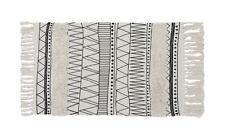 Fennco Styles Ivory Boho Tribal Textured Fringe Tassel Area Rug 2'x3' Small Rug