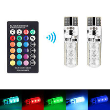 2x T10 6smd 5050 RGB LED Car Wedge Side Light Reading Lamp Bulb Remote Control