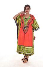 Indian 100% Cotton Kaftan Women Long Wear Dakshini Printed SunDress Orange Color