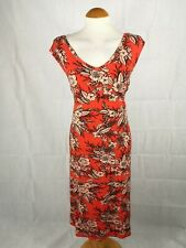Ladies Dress Size 26 Orange Stretch Smart Casual Day Party Summer Holiday