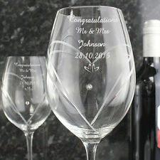 Personalised Hearts Wine Glasses with Swarovski Elements - Anniversary Gift