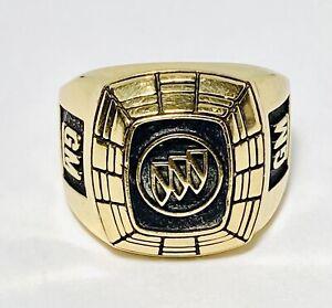 10K Yellow Gold General Motors Buick Logo Size 9.75 Service Signet Ring 19.5g
