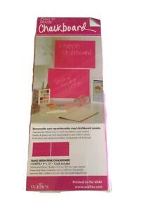 "Wallies Peel & Stick Chalkboard Panels 9"" X 12"" Neon Pink removable"