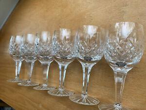 """Heavy Crystal 6 Wine Glasses Criss Cross W/Cut Foot Shelton Like Design 6"""""""