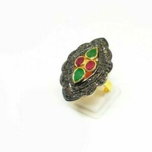 Natural Gemstone Emerald Ruby Ring ,Pave Diamond ring, 925,Sterling Silver ring