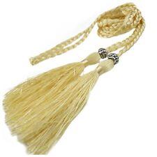 Woven Tassel Belt Knot Decorated Waist Chain Waist Rope Light Yellow F8Q3