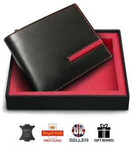 GENUINE  REAL Leather Soft Luxury  Mens Wallet Credit Card ID Holder GIFT BOXED