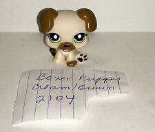 LIttest Pet Shop (LPS) Cream/Brown BOXER PUPPY # 2104 Green Eyes