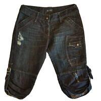 Armani Jeans Men's Size 30 Denim Shorts Blue Belt Buckle Distressed Denim-  SE21