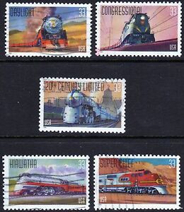 Scott #3333-37 Used Set of 5, All Aboard (Famous Trains)