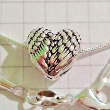 """STERLING SILVER SNAKE CHAIN 925 HEART FEATHERS PENDANT 18""""20""""24"""" NECKLACE BOXED"""
