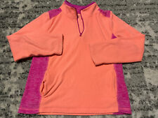 euc SO Hot Bright Coral Pink FLEECE Pullover JACKET Sweatshirt Girls 12 Tagless