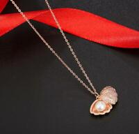Pave Cubic Zirconia Seashell Pearl Rose Gold GP Shell Pendant Chain Necklace