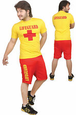 Mens Womens Adults Life Guard Rescue Team Miami Beach Outfit Shorts and Top