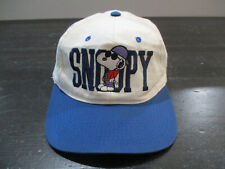 VINTAGE Snoopy Hat Cap White Blue Charlie Brown Cartoon Snap Back Mens 90s*