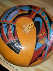 Stone Heat Studio Hand Carved Painted Gourd