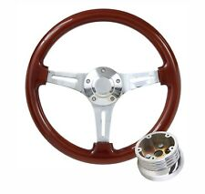 Classic Wood Steering Wheel Chrome-Plated Spokes Fits 1969 - 1994 Chevy/ GM