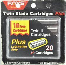 TRAC II RAZORS TWIN BLADE 20 CARTRIDGES PLUS LUBRICATING STRIP SHAVING BLADES