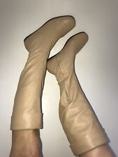 CHANEL 5.5/35.5 Beige Soft Nappa Leather Knee High Flat Boots